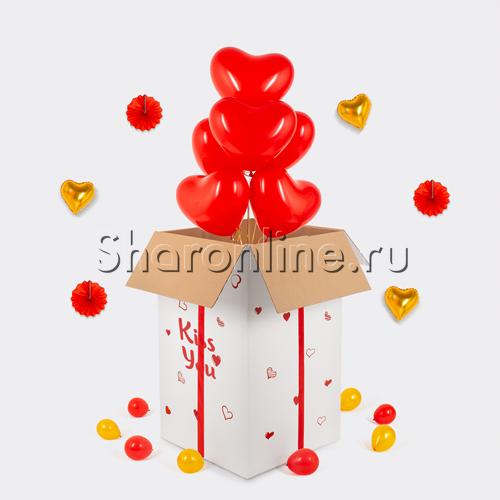 Фото №1: Большая коробка-сюрприз с премиум сердцами 41см
