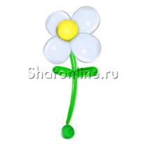 Большой цветок из шаров белый