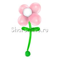 Большой цветок из шаров розовый