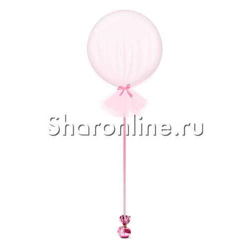 Фото №1: Большой шар белый в розовом фатине 80 см