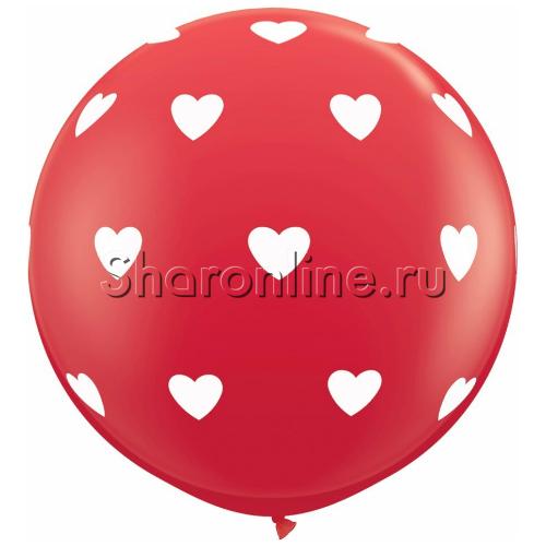"""Фото №1: Большой шар красный """"Белые сердца"""" 80 см"""