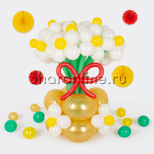 """Фото №1: Цветы в вазе """"Ромашки"""" из шаров"""