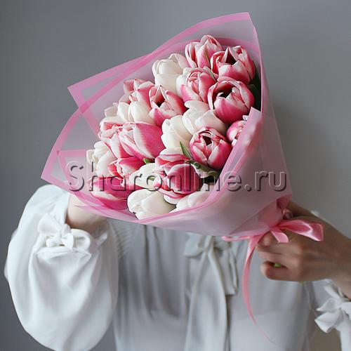 Фото №1: Букет из розовых и белых тюльпанов