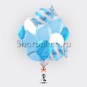"""Фото №1: Букет шаров """"Голубой мрамор"""""""
