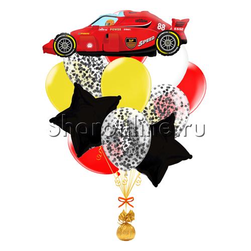 """Фото №1: Букет шаров """"Гоночная машина"""""""