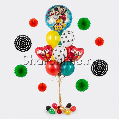 "Фото №1: Букет шаров ""Микки на воздушном шаре"""