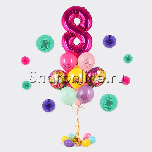 """Фото №1: Букет шаров """"Поздравление с 8 марта"""""""