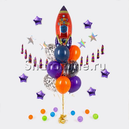 """Фото №1: Букет шаров """"Ракета"""""""
