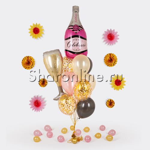 """Фото №1: Букет шаров """"Розовое шампанское"""""""