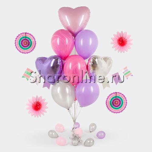"""Фото №1: Букет шаров """"Розовый мрамор"""""""