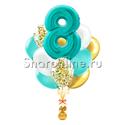 """Фото №1: Букет шаров """"С 8 марта"""" тиффани с конфетти"""