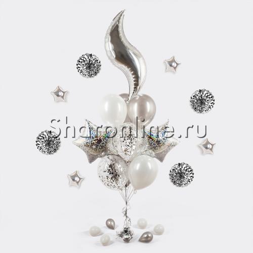 """Фото №1: Букет шаров """"Серебряные узоры"""""""