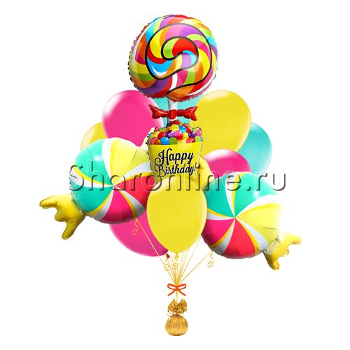 """Фото №1: Букет шаров """"Сладкий день рождения"""""""