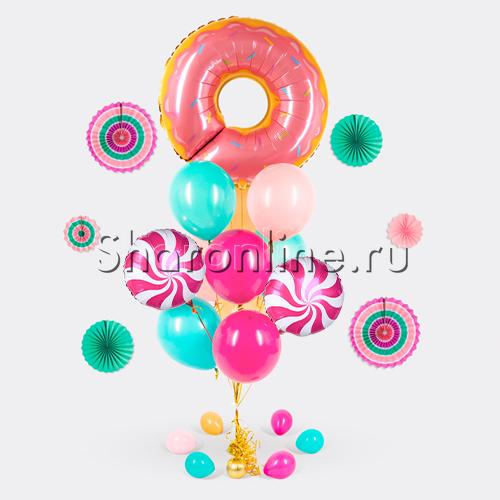"""Фото №1: Букет шаров """"Сладкий пончик"""""""
