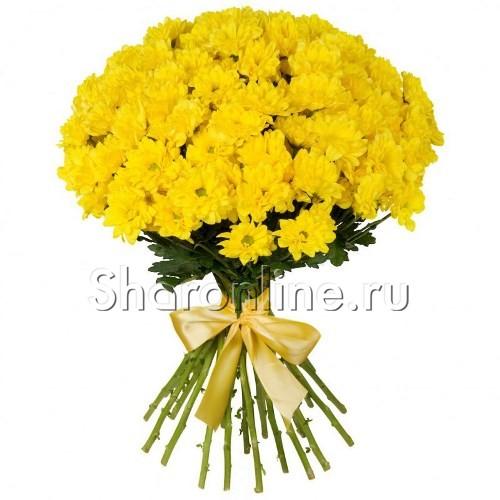 Фото №1: Букет желтых кустовых хризантем
