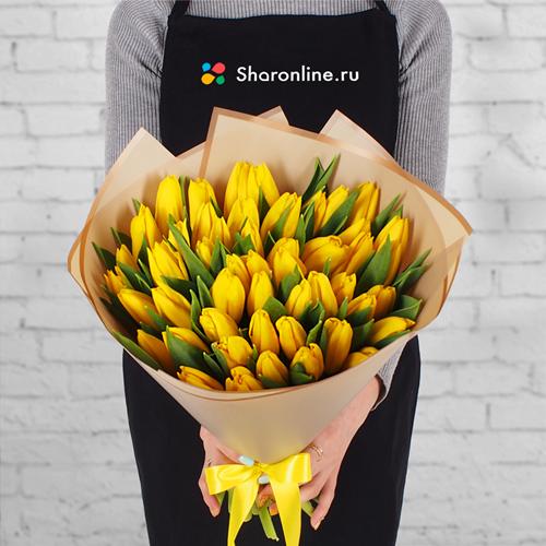 Фото №1: Букет желтых тюльпанов