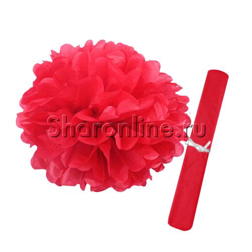 Фото №1: Бумажный Помпон красный 28 см