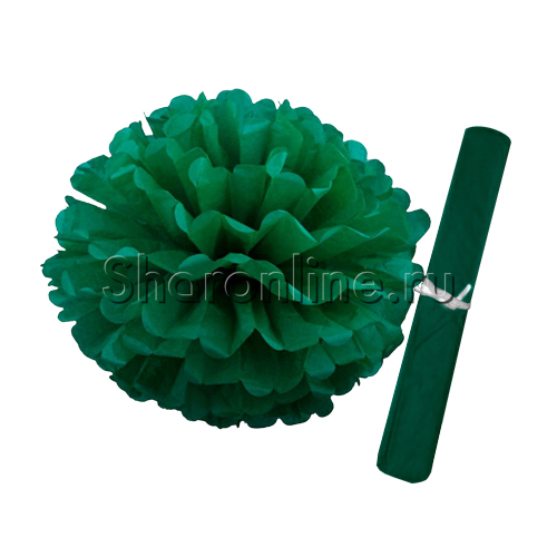 Фото №1: Бумажный Помпон зеленый 28 см