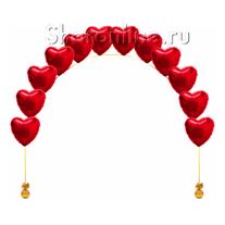 Цепочка из фольгированных красных сердец