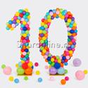 Фото №1: Цифра 10 из разноцветных шаров
