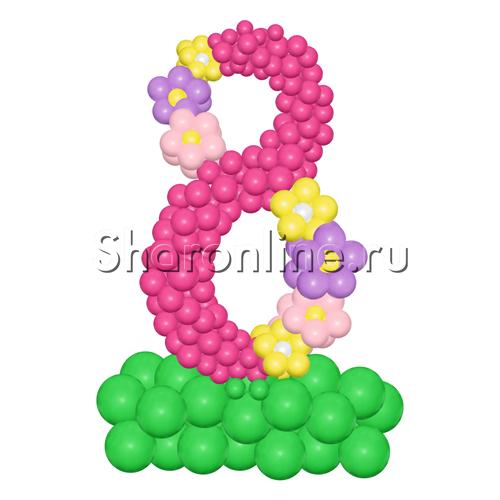 """Фото №2: Цифра 8 из шаров """"Весенняя"""""""