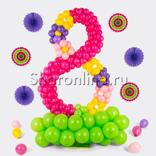 """Фото №1: Цифра 8 из шаров """"Весенняя"""""""