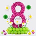Фото №1: Цифра 8 плетеная из шаров фуксия