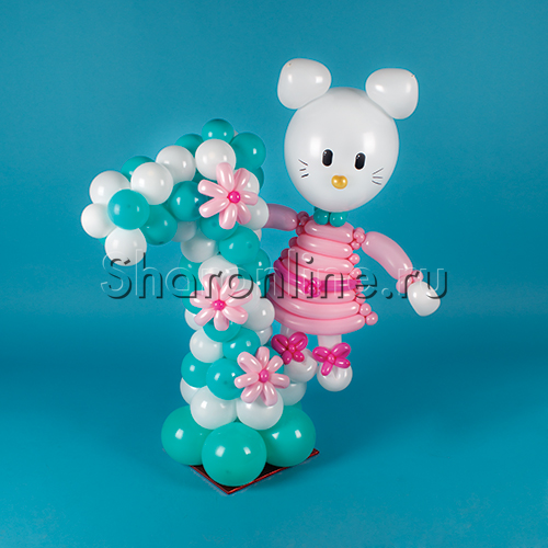 "Фото №2: Цифра из шаров с ""Hello Kitty"""