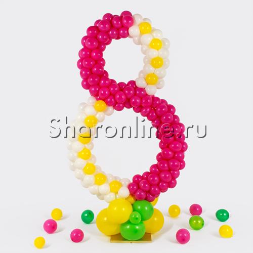 Фото №1: Цифра плетеная из шаров на стойке микс