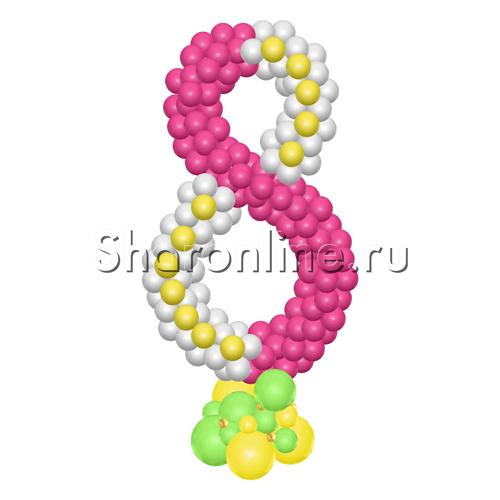 Фото №2: Цифра плетеная из шаров на стойке микс