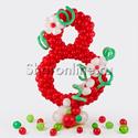 Фото №1: Цифра плетеная из шаров на стойке с декором