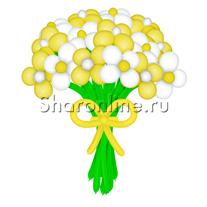 Цветы из шаров желто-белые