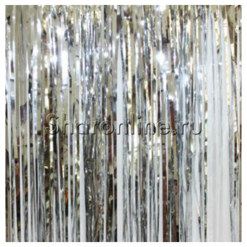 "Фото №1: Дождик ""Занавес"" серебро 100x200 см"