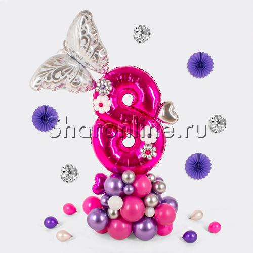 """Фото №1: Фигура из шаров """"Цифра с бабочкой"""""""