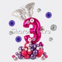 """Фото №2: Фигура из шаров """"Цифра с бабочкой"""""""