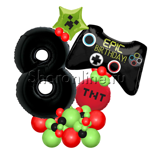 """Фото №1: Фигура из шаров """"Джойстик"""" с цифрой"""