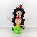 """Фото №1: Фигура из шаров """"Ёжик на полянке"""""""