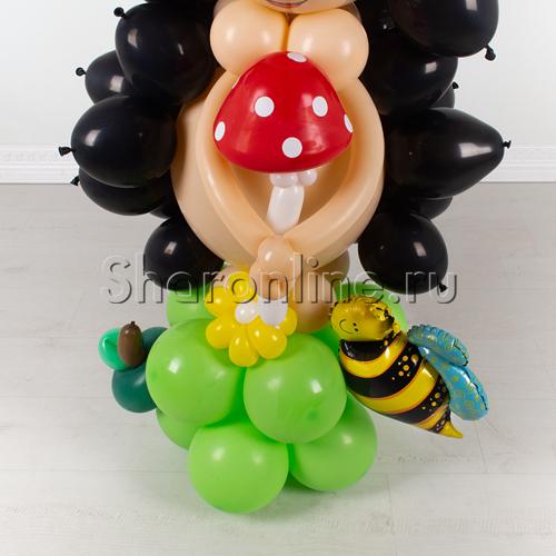 """Фото №3: Фигура из шаров """"Ёжик на полянке"""""""
