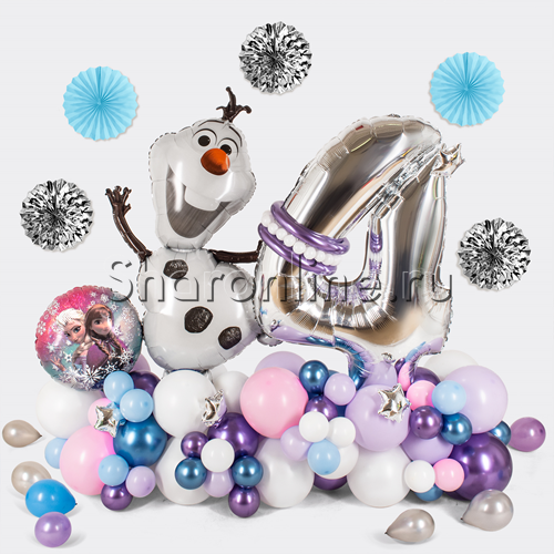 """Фото №1: Фигура из шаров """"Холодное сердце"""" с цифрой"""
