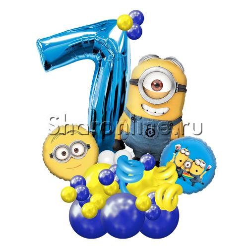 """Фото №2: Фигура из шаров """"Миньоны"""" с цифрой"""