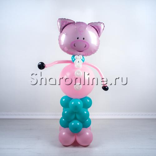 """Фото №1: Фигура из шаров """"Поросенок"""""""