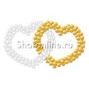 """Фото №1: Фигура из шаров """"Сердце двойное"""" бело-золотое"""