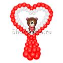 """Фото №1: Фигура из шаров """"Сердце с мишкой"""""""