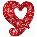 """Фото №1: Фольгированный шар """"Сердце"""" красное серебро 109 см"""
