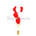 Фото №1: Фонтан из 10 бело-красных шаров