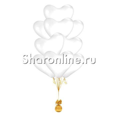 Фото №2: Фонтан из 10 белых сердец премиум 41 см