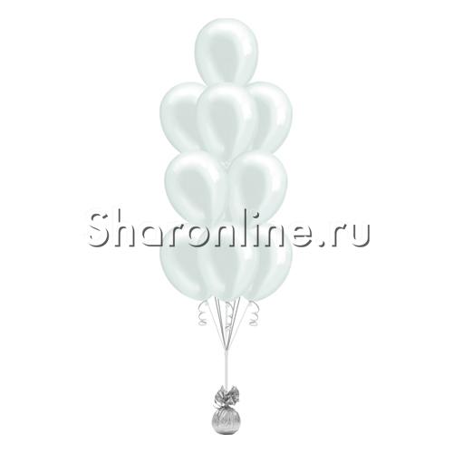 Фото №1: Фонтан из 10 белых шаров металлик