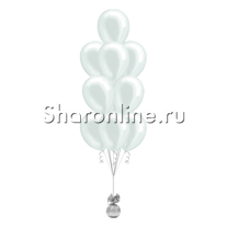 Фонтан из 10 белых шаров металлик