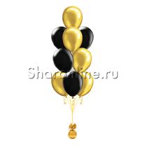 Фонтан из 10 черно-золотых шаров