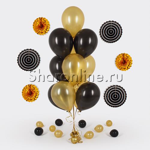 Фото №1: Фонтан из 10 черно-золотых шаров